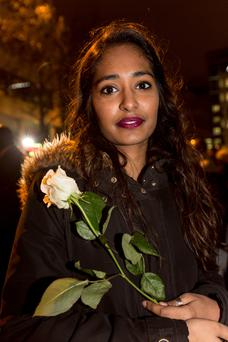Zaina Chatharoo at a public gathering outside the Stade De France in Paris