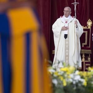 Pope Francis celebrates the Corpus Domini mass in Rome (AP)