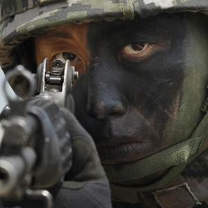 A South Korean Marine takes position during the joint military exercises between South Korea and the United States south of Seoul (AP)