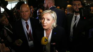 Marine le Pen answers media questions at a meeting of European Nationalists in Koblenz (AP)