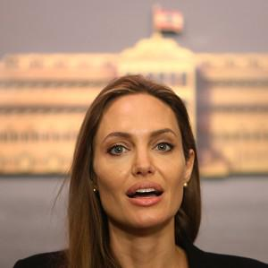 Angelina Jolie talks to journalists during her visit to Lebanon (AP Photo/Hussein Malla)