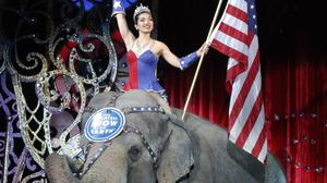 An Asian elephant performs for the final time in the Ringling Bros and Barnum & Bailey Circus in Providence, Rhode Island, in May 2016 (AP/Bill Sikes)