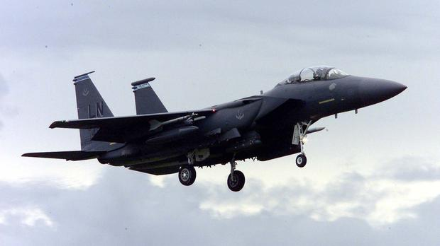 An American F15 aircraft like those used in Sunday's airstrikes (Andrew Parsons/PA)