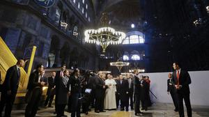 Pope Francis visits Haghia Sofia, the Byzantine church-turned-mosque that is now a museum (AP)