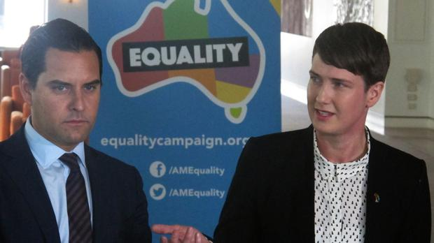 Marriage equality advocates Alex Greenwich and Anna Brown address the media at Parliament House in Canberra. (AP)