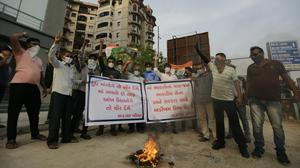 Indians protest against China in Ahmedabad (Ajit Solanki/AP)