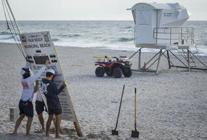 Palm Beach Ocean Rescue personnel take down the weather conditions signage in preparation for Hurricane Isaias (Thomas Cordy/The Palm Beach Post via AP)