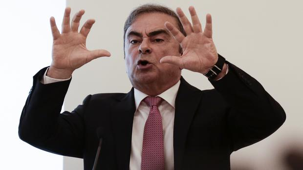 Nissan's former chairman Carlos Ghosn speaks at a press conference in Beirut, Lebanon (Maya Alleruzzo/AP)