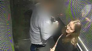 Grace Millane inside a hotel lift with her murderer (Auckland City Police)