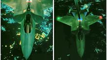 A U.S. Air Force F-22 Raptor fighter aircraft is seen prior to strike operations in Syria in this undated U.S. Air Force handout combination picture released yesterday.