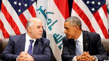 President Obama meets with Iraqi Prime Minister Haider al-Abadi during the United Nations General Assembly in New York