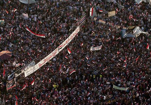 Demonstraters in Tahrir Square, Cairo. Ed Giles/Getty