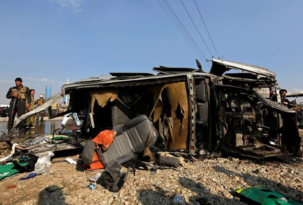 The wreckage of a British embassy vehicle after a suicide attack in Kabul. A suicide bomber attacked the vehicle in the Afghan capital on Thursday, killing five people, including one Briton, the ministry of interior said