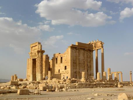 A general view shows the Temple of Bel in the historical city of Palmyra, Syria.