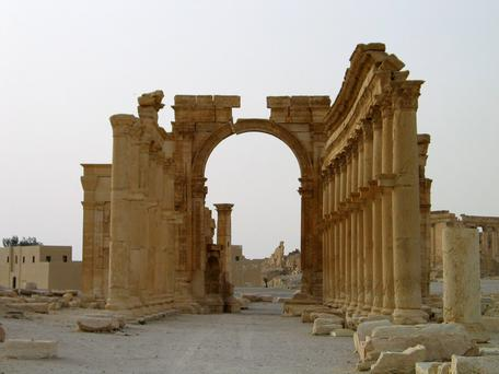 Columns are seen in the historical city of Palmyra.