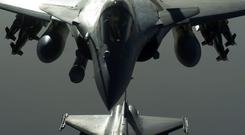 French Army Rafale fighter jets are seen in flight during an operation in Syria