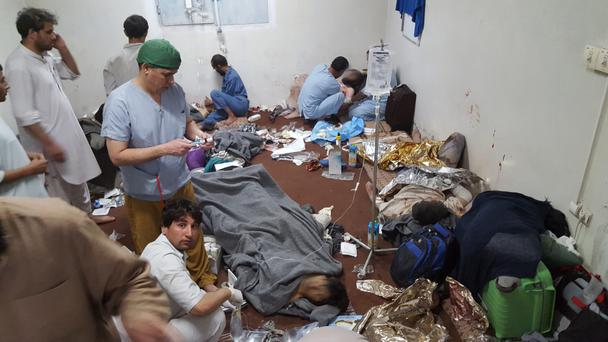 MSF medical staff at work in the hospital in Kunduz after the raid by US forces last Saturday week