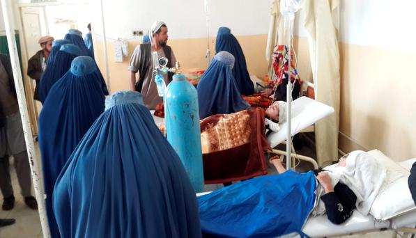 Afghan school girls are treated at a hospital after an earthquake in Takhar province, northeast of Kabul, Afghanistan.