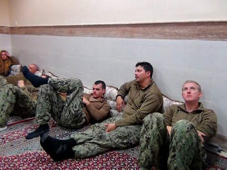 A picture of the US sailors released by Iran.