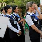 Egyptian air hostesses hold a vigil for victims.