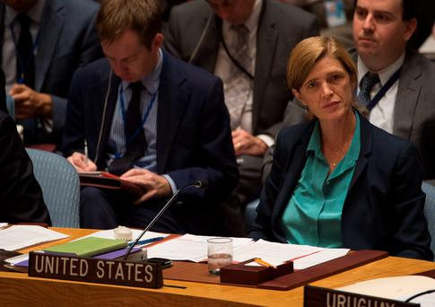 Samantha Power, US Ambassador to the UN, attends a United Nations Security Council emergency meeting on Syria yesterday. GETTY