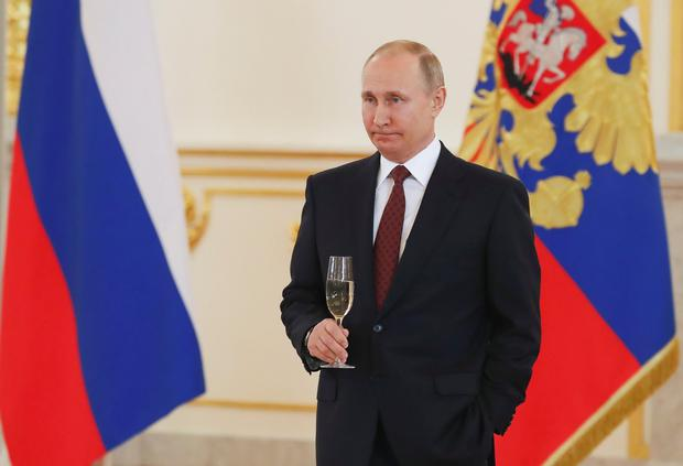 Russian President Vladimir Putin attends a ceremony yesterday to receive credentials from foreign ambassadors at the Kremlin. Russia has warned it will shoot down missiles in Syria. Photo: Reuters