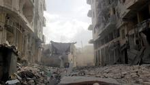 The bombed out city of Idib in Syria.