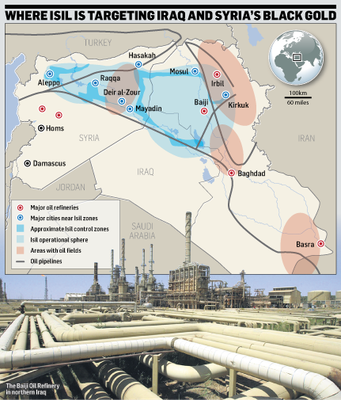 Where is ISIL targeting Iraq and Syria's black gold?