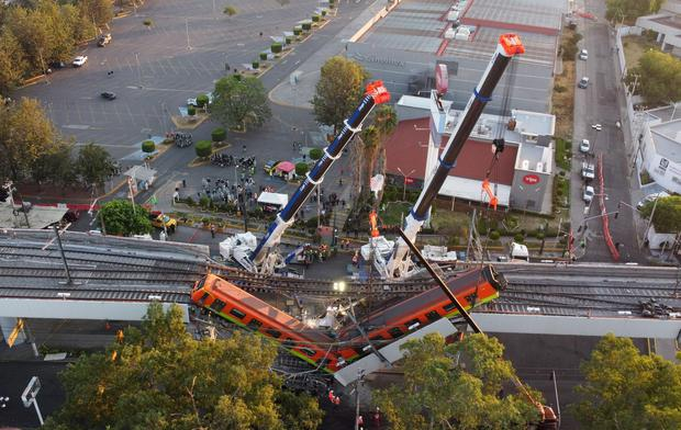 An aerial view of the damage caused by the overpass collapse. Photo: Carlos Jasso/Reuters