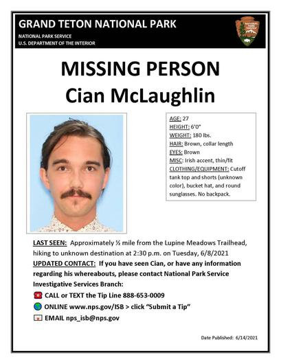Grand Teton National Park in Wyoming has published an appeal for Cian McLaughlin (27) who was last seen at 2.30pm on Tuesday, June 8
