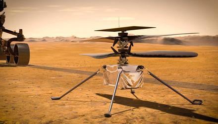 The Ingenuity helicopter beside the Perseverance rover in this artist's impression