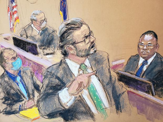 Court sketch of LAPD Sgt Jody Stiger (right) being cross examined by defence attorney Eric Nelson as Judge Peter Cahill and Derek Chauvin listen on the eighth day of the murder trial of former Minneapolis police officer Chauvin. Photo: Reuters