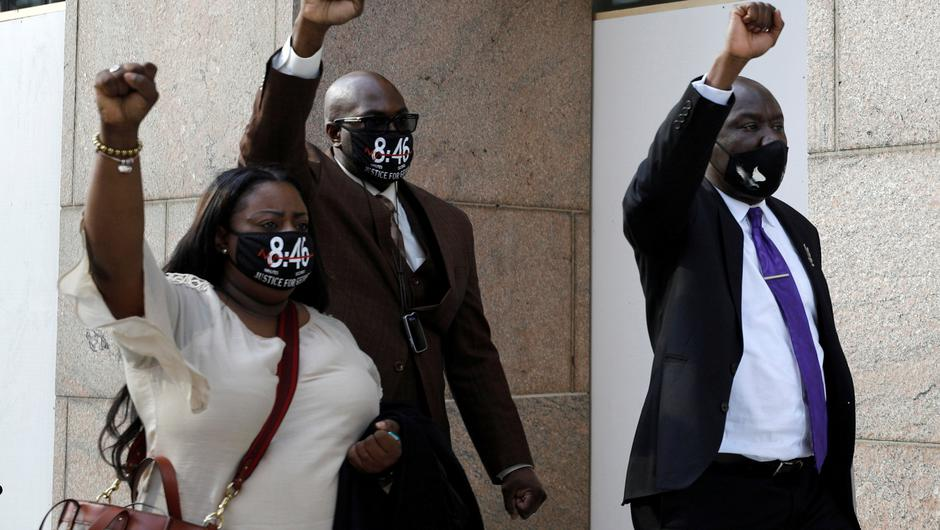 Keeta and Philonise Floyd leave court with their attorney Ben Crump after the sixth day in the trial of former police officer Derek Chauvin, who is facing murder charges in the death of George Floyd, in Minneapolis, Minnesota, US. Photo: NIcholas Pfosi