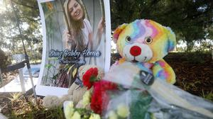 A makeshift memorial dedicated to missing woman Gabby Petito is located near City Hall on September 20, 2021 in North Port, Florida. Getty