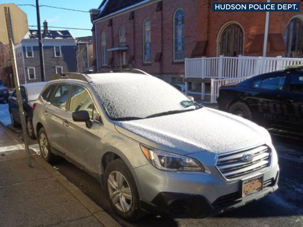 The frozen car the mannequin was found in Photo: Hudson Police Department