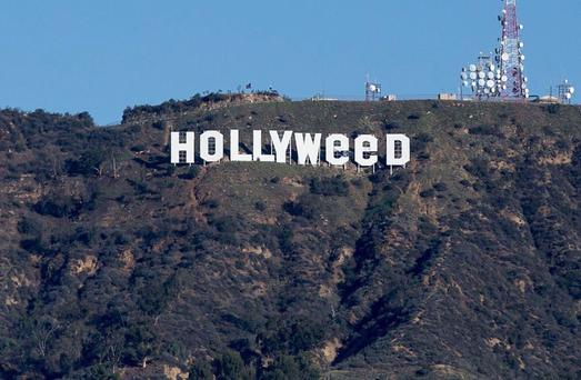 The altered Hollywood sign as part of a New Year's Day prank