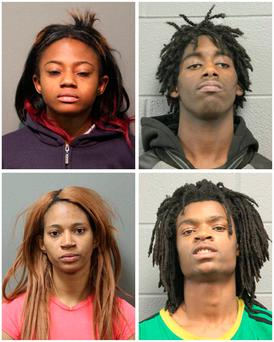 A combination photo shows four people charged with felonies for the beating of a man with mental health issues