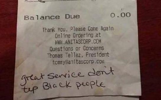 The note left for the waitress Credit: Loudoun County NAACP/Twitter