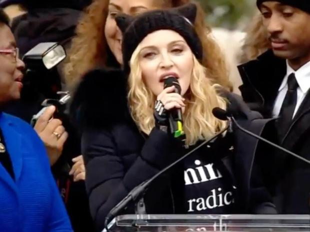 Madonna addresses the crowd at the Woman's March Photo: Twitter