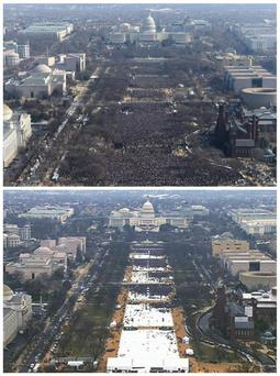 This pair of photos shows a view of the crowd on the National Mall at the inaugurations of President Barack Obama, above, on January 20, 2009, and President Donald Trump, below, on January 20, 2017. The photo above and the screengrab from video below were both shot shortly before noon from the top of the Washington Monument (Reuters)