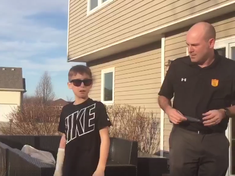 Cayson Irlbeck (10) sees colour for the first time
