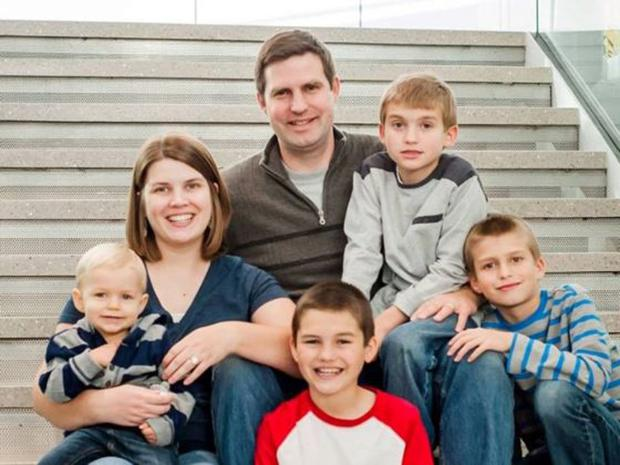 Katie Evans, her husband Jacob, and her four boys Spencer, 12, Travis, 11, Nathaniel, 9, and Gideon, 2. Photo: YouCaring