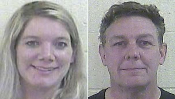 Aimee Friz, left, and Alan Friz, right, were arrested after their daughter alleged she was locked in a cage without food or water. Photo: Dubois County Sheriff's Department