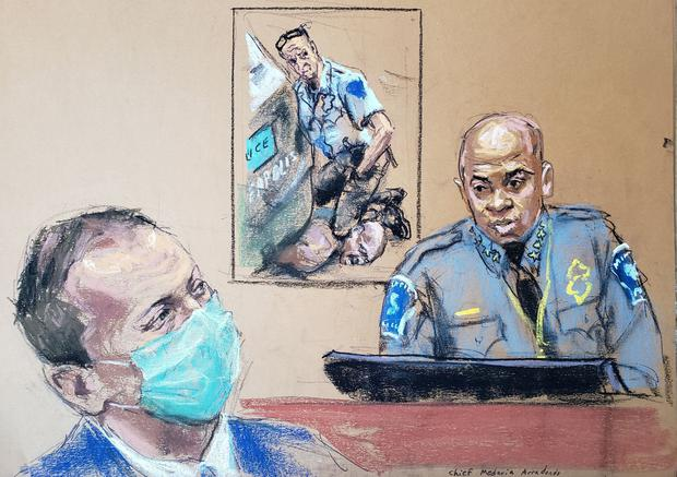 Minneapolis Police Chief Medaria Arradondo answers questions on the sixth day of the trial of former Minneapolis police officer Derek Chauvin (left) for second-degree murder, third-degree murder and second-degree manslaughter in the death of George Floyd in Minneapolis, Minnesota. Sketch: REUTERS/Jane Rosenberg