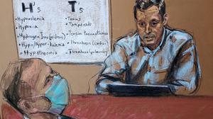 DrBradford Langenfeld, the emergency room doctor who pronounced George Floyd dead,answers questions on the sixth day of the trial of former Minneapolis police officer Derek Chauvin (left) yesterday. Sketch: Jane Rosenberg/Reuters