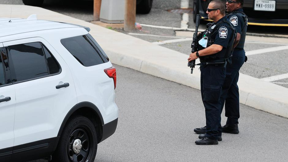 Pentagon Force Protection Agency police respond to the scene of a shooting with multiple victims outside the Pentagon. Picture: Getty