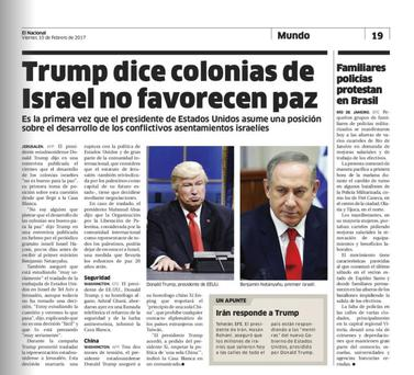 "Screen grab of the Dominican Republic's El Nacional shows comedian Alec Baldwin doing his impression of President Donald Trump on ""Saturday Night Live,"" next to a photo of Israel's Prime Minister Benjamin Netanyahu"
