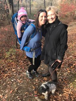 Margot Gerster with Hillary Clinton on a hike Photo: FB Margaret Gerster